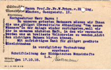 Postkarte (Typo) mit eigenh. Unterschrift
