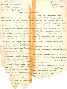 Persönlicher Brief von Ali Silver an Dr. Zukerman